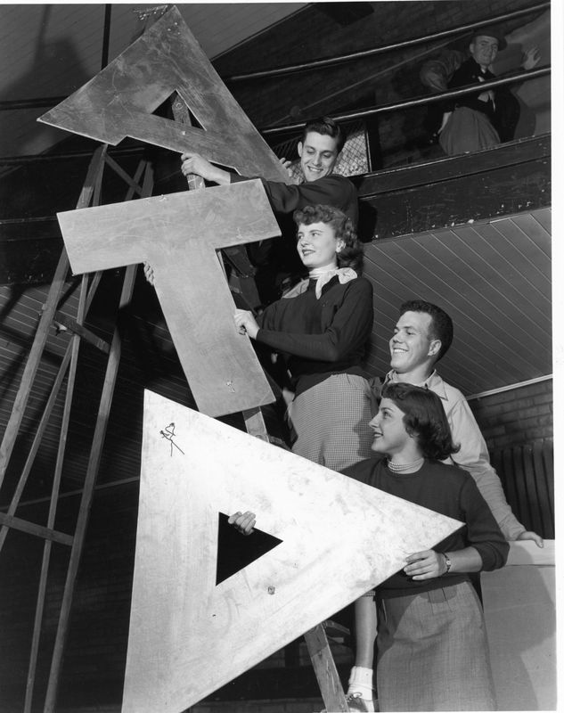 Alpha Tau Delta Students on a Ladder