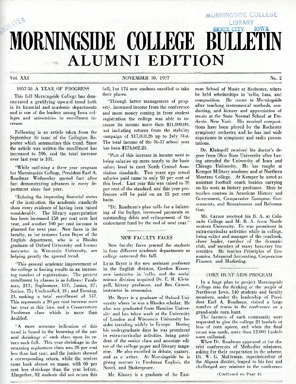 Morningsider: Volume 21, Number 02 (1937-11)