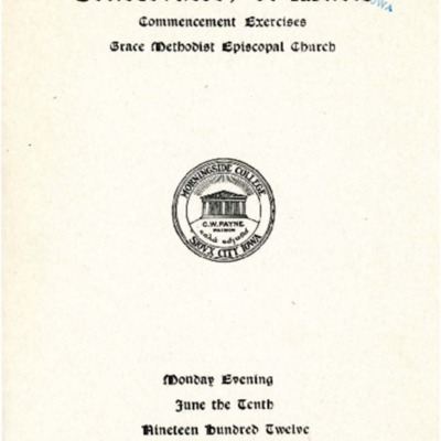 Morningside Conservatory of Music Commencement Exercises, June 10, 1912