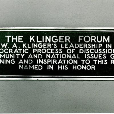 Klinger Forum Plaque