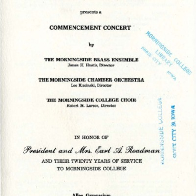 Morningside College Conservatory of Music Commencement Concert, June 03, 1956