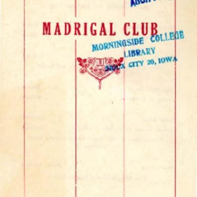 Morningside College Madrigal Club, Season 1918-1919