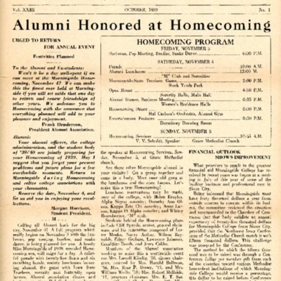 Morningside College Bulletin: Volume 23, Number 01 (1939-10)