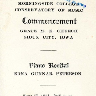 Morningside Conservatory of Music Commencement and Piano Recital, June 15, 1914