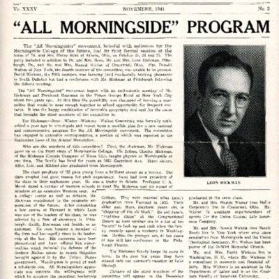 Morningside College Bulletin: Volume 35, Number 03 (1941-11)