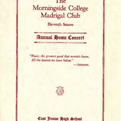 Morningside College Madrigal Club, 11th Season, Annual Home Concert, April 22, 1925