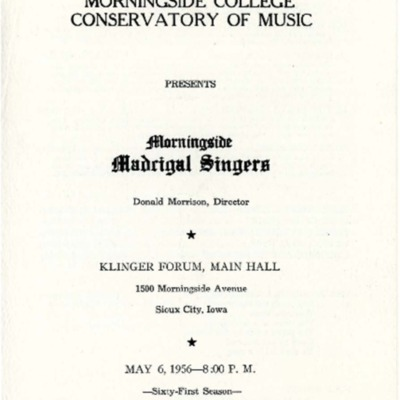 Morningside College Conservatory of Music Madrigal Singers,  May 06, 1956