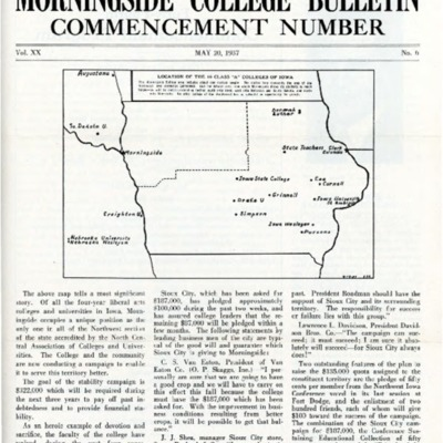 Morningside College Bulletin Commencement Number Volume 20 Number 06 (1937-05-20)