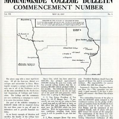 Morningside College Bulletin Commencement Number Volume 20 Number 06 (1937-05-20)