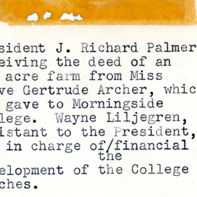 President Palmer Handed Deed by Mrs. Olive Archer 1956 02-02