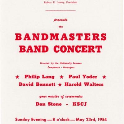 Iowa Bandmaster's Association Bandmasters Concert, 1954