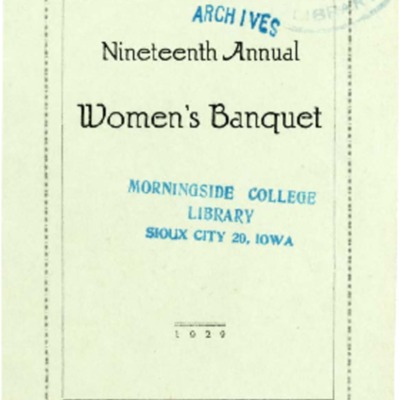 Agora Club Nineteenth Women's Banquet Program
