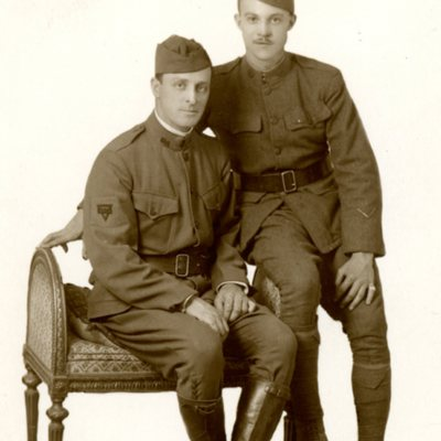 Scanned WW1 Post Card of Edwin and Bernard Brown