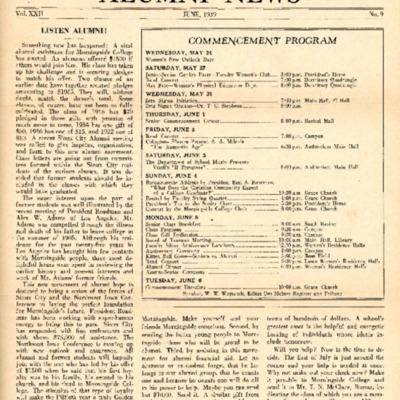 Morningside College Bulletin: Volume 22, Number 09 (1939-06)