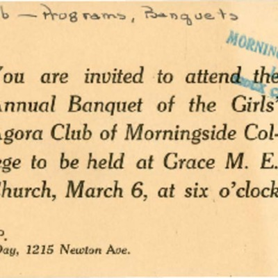 Agora Club Women's Banquet Invitation