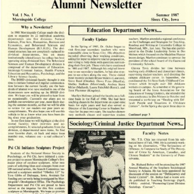 Behavioral Sciences and Human Development Alumni Newsletter: Volume 01, Number 01