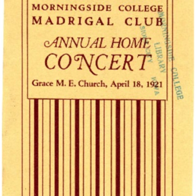 Morningside College Madrigal Club, Annual Home Concert, April 18, 1921