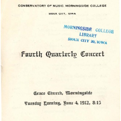 Fourth Quarterly Concert, Morningside Conservatory of Music, June 04, 1912