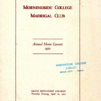 Morningside College Madrigal Club, Annual Home Concert, April 20, 1922