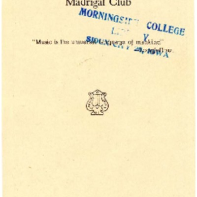Morningside College Madrigal Club, Thirteenth Season, 1926-1927