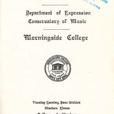 Commencement Recital, Morningside Conservatory of Music, June 13, 1911