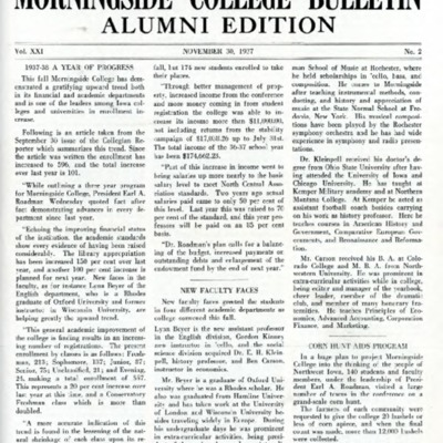 Morningside College Bulletin Alumni Edition Volume 21 Number 02 (1937-11-30)