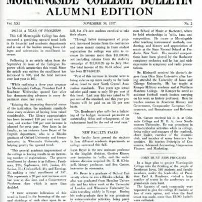 Morningside College Bulletin Alumni Edition Volume 21 Number 02 (1937-11-30)