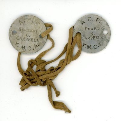 YMCA American Expeditionary Force Dog Tags for Herbert G. and Pearl R. Cambell