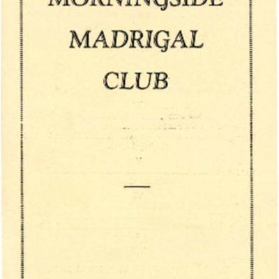 Morningside Madrigal Club, Season 1928-1929