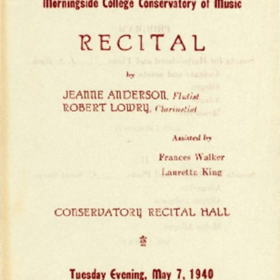 Jeanne Anderson and Robert Lowry Recital