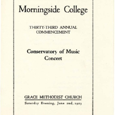 Morningside College Thirty Third Annual Commencement, Conservatory of Music Concert, June 02, 1923