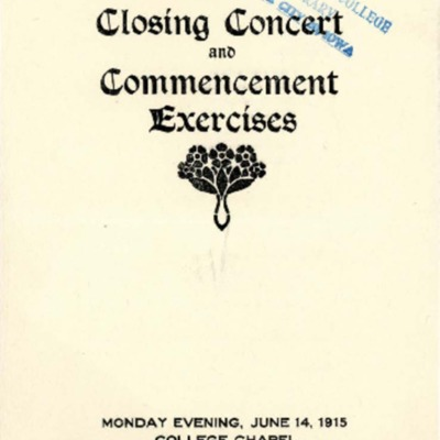 Morningside Conservatory of Music Closing Concert and Commencement Exercises, June 14, 1915