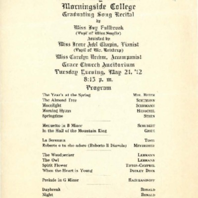 Morningside Conservatory of Music Graduating Song Recital, May 21, 1912