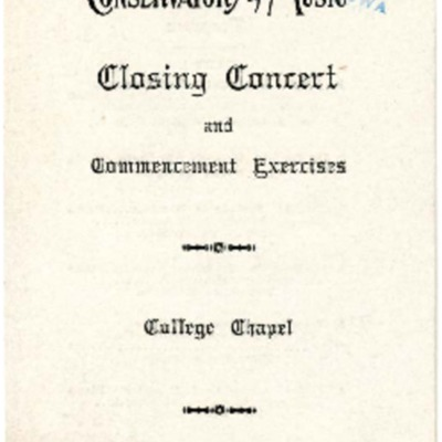 Morningside Conservatory of Music Closing Concert and Commencement Exercises, June 09, 1913