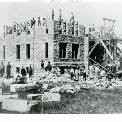 Construction of Charles City Hall, ca. 1890