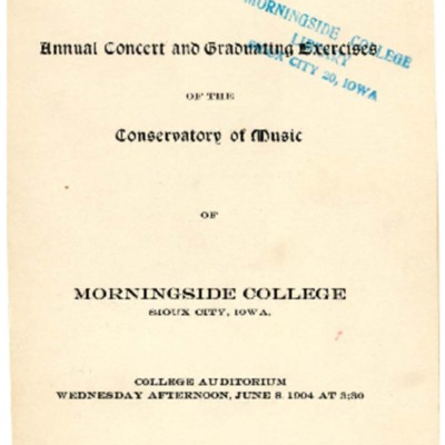 Morningside Conservatory of Music Annual Concert and Graduating Exercises, June 08, 1904