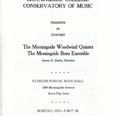 Morningside College Conservatory of Music Woodwind Quintet and Brass Ensemble in Concert, March 06, 1956