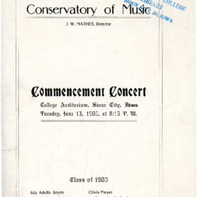 Morningside Conservatory of Music Commencement Concert, June 13, 1905