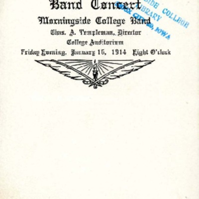 Band Concert, Morningside College Band, January 16, 1914