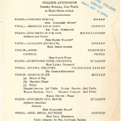 Morningside Conservatory of Music Commencement Concert, June 10, 1908