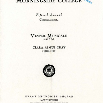 Morningside College Fiftieth Annual Commencement Vesper Musicale, May 13, 1943